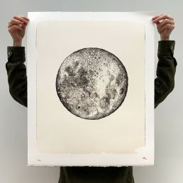 Moon Drawing Lithography Charlotte Le Bon