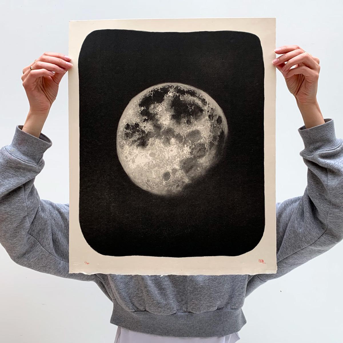 Moon Drawing Lithography Charlotte Le Bon
