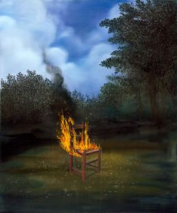 Chair on fire in forest painting Charlotte Le Bon